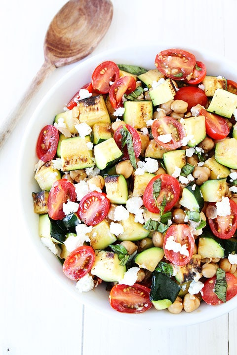 Grilled Zucchini, Chickpea, Tomato and Goat Cheese Salad from twopeasandtheirpod.com on foodiecrush.com