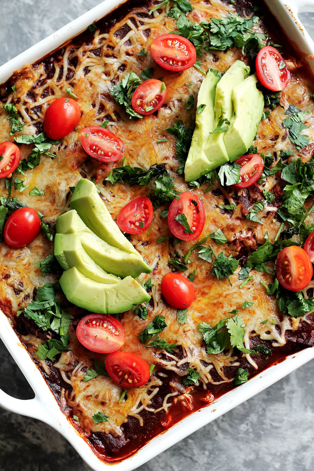 Low Carb Chicken Zucchini Enchilada Bake from ambitiouskitchen.com on foodiecrush.com