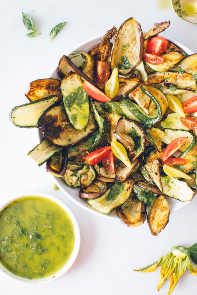 Roasted Eggplant and Zucchini Salad with Basil Vinaigrette from kaleandcaramel.com on foodiecrush.com