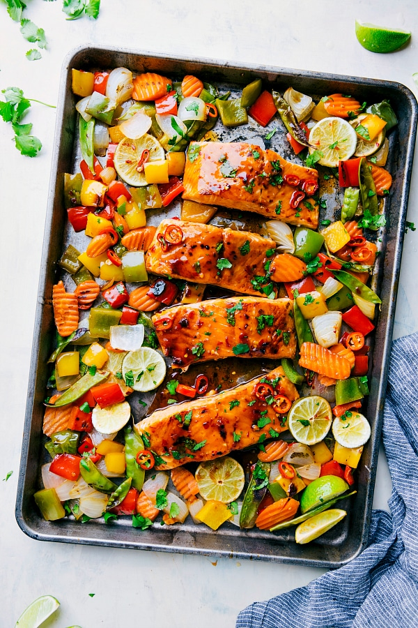 Sheet Pan Thai Glazed Salmon with Vegetables from therecipecritic.com on foodiecrush.com
