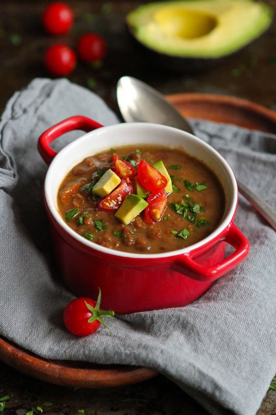 Slow Cooker Chipotle Lentil Soup with Avocado from cookincanuck.com on foodiecrush.com