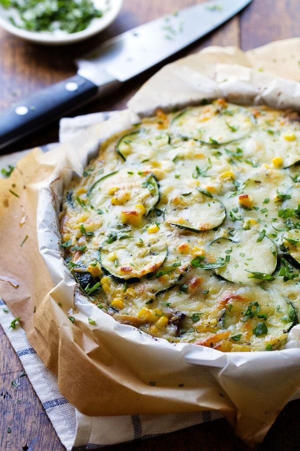 Sweet Corn and Zucchini Pie from pinchofyum.com on foodiecrush.com