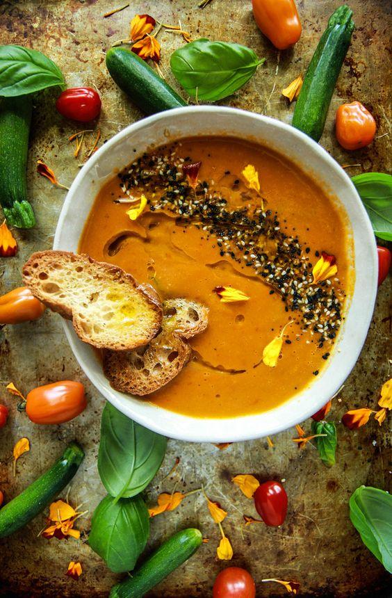 Vegan Tomato Zucchini Soup from heatherchristo.com on foodiecrush.com