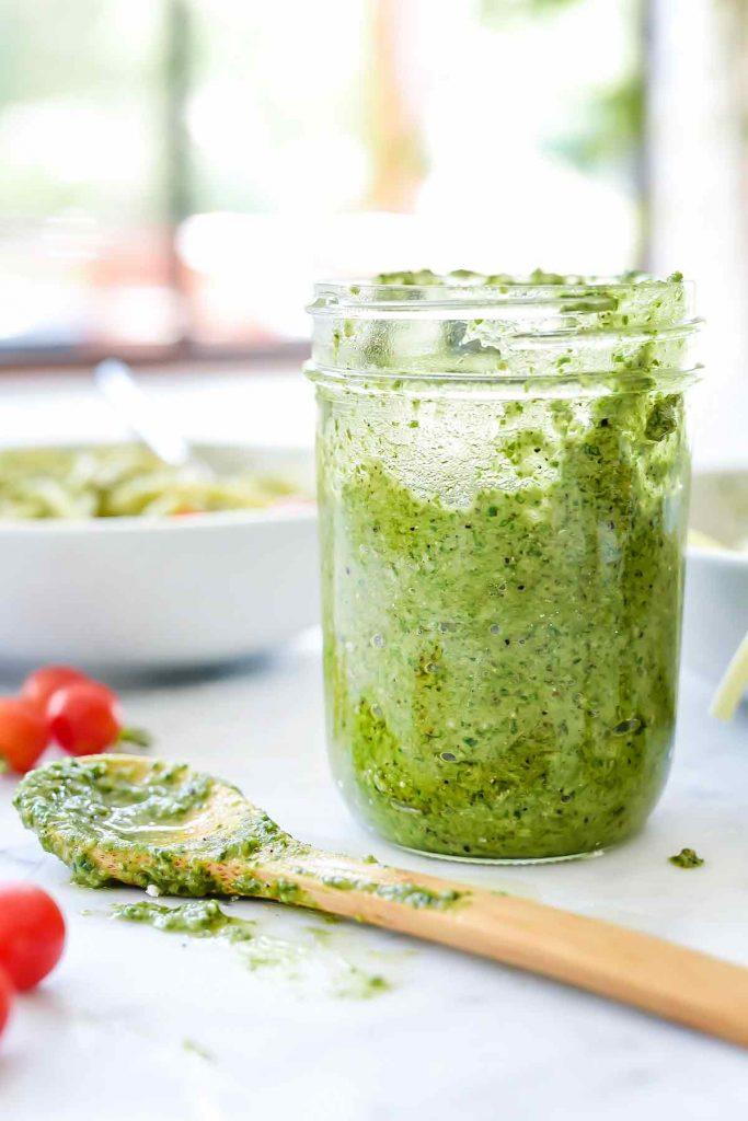 How to Make Homemade Basil Pesto Recipe #pesto #basil #recipe| foodiecrush.com