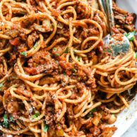 My Mom's Easy Homemade Spaghetti and Meat Sauce | foodiecrush.com #spaghetti #meat #sauce #bolognese #pasta #recipe