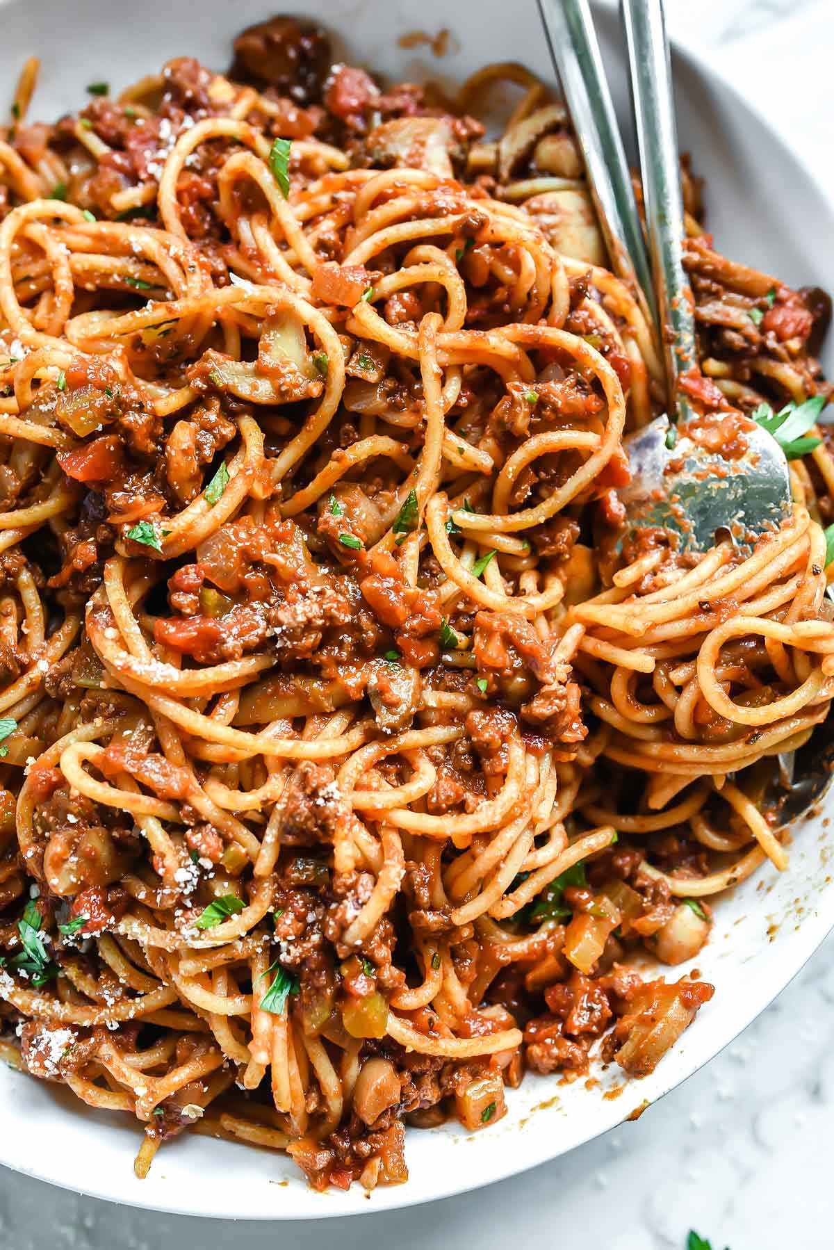 Mom S Homemade Spaghetti Recipe Meat Sauce Foodiecrush Com