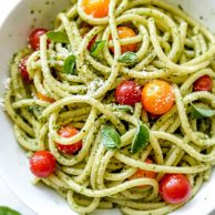 Homemade Pesto Pasta Recipe | foodiecrush.com #pesto #pasta #recipe