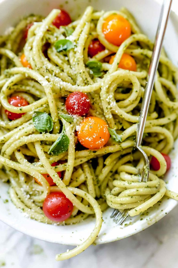 Easy Homemade Pesto Pasta Recipe | foodiecrush.com #pesto #pasta #recipe