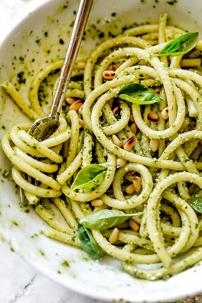 Pesto Pasta Recipe | foodiecrush.com #pesto #pasta #recipe
