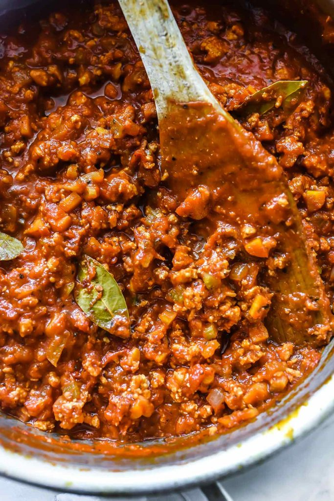 Healthy Turkey Bolognese Sauce for lasagna or pasta | foodiecrush.com Turkey Bolognese Lasagna Toss | foodiecrush.com #lasagna #pasta #healthy #ricotta