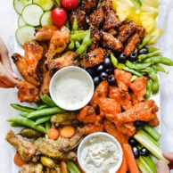 How to Make a Game-Day 4-Way Baked Chicken Wing Platter | foodiecrush.com #football #appetizer #chicken #wings #platter #board