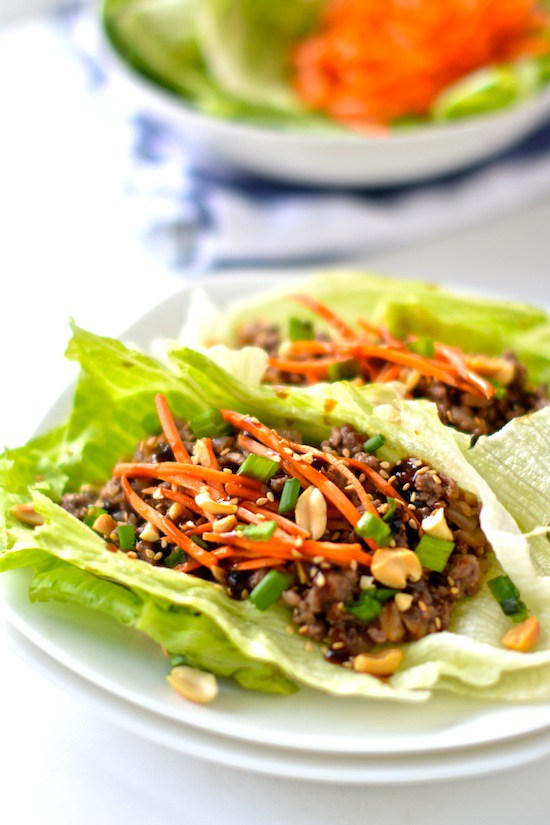 Healthy Asian Lettuce Wraps from apple-of-my-eye.com on foodiecrush.com