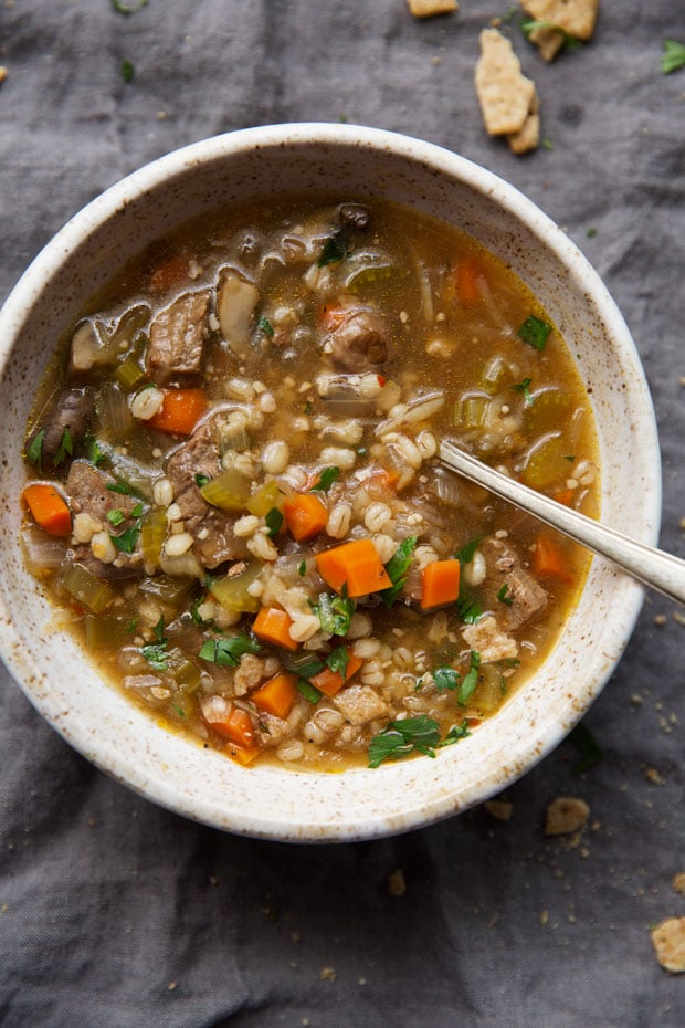 Instant Pot Beef and Barley Soup from littlespicejar.com on foodiecrush.com