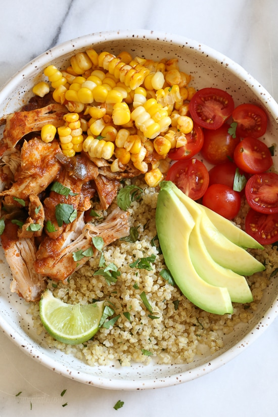 Instant Pot Chipotle Chicken Bowls with Cilantro Lime Quinoa from skinnytaste.com on foodiecrush.com