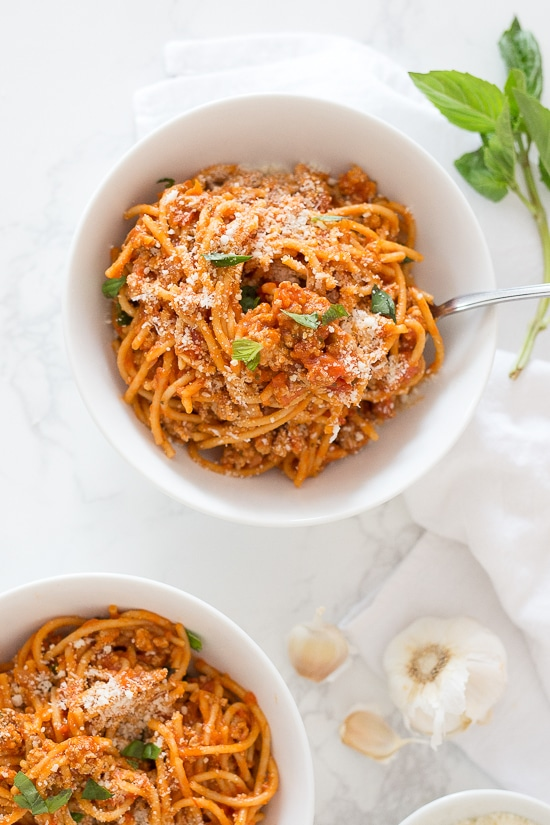Instant Pot One-Pot Spaghetti with Meat Sauce from skinnytaste.com on foodiecrush.com