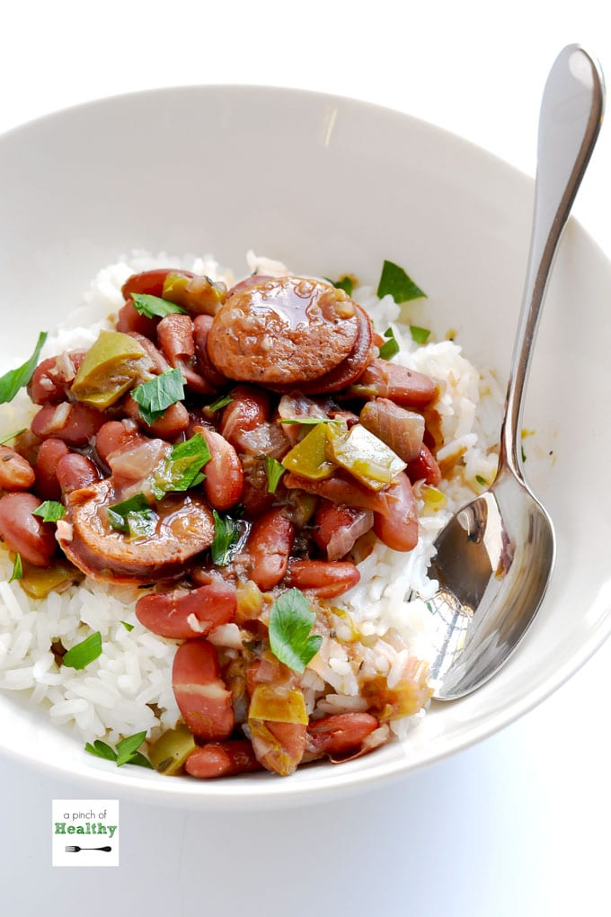 Instant Pot Red Beans and Rice from apinchofhealthy.com on foodiecrush.com