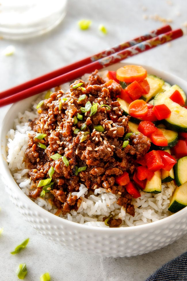 30 Minute Korean Beef Bowls with Veggies from carlsbadcravings.com on foodiecrush.com
