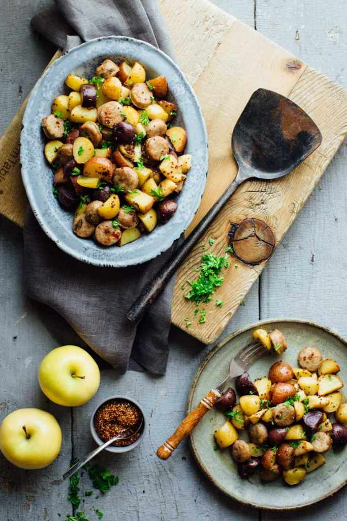 Roasted Potatoes with Apples, Sausage, and Maple Mustard Glaze from Healthy Seasonal REcipes on foodiecrush.com