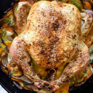 Cast-Iron Skillet Roasted Chicken With Potatoes | foodiecrush.com