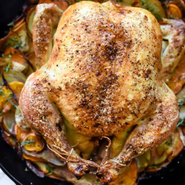 Cast-Iron Skillet Roasted Chicken With Potatoes   foodiecrush.com