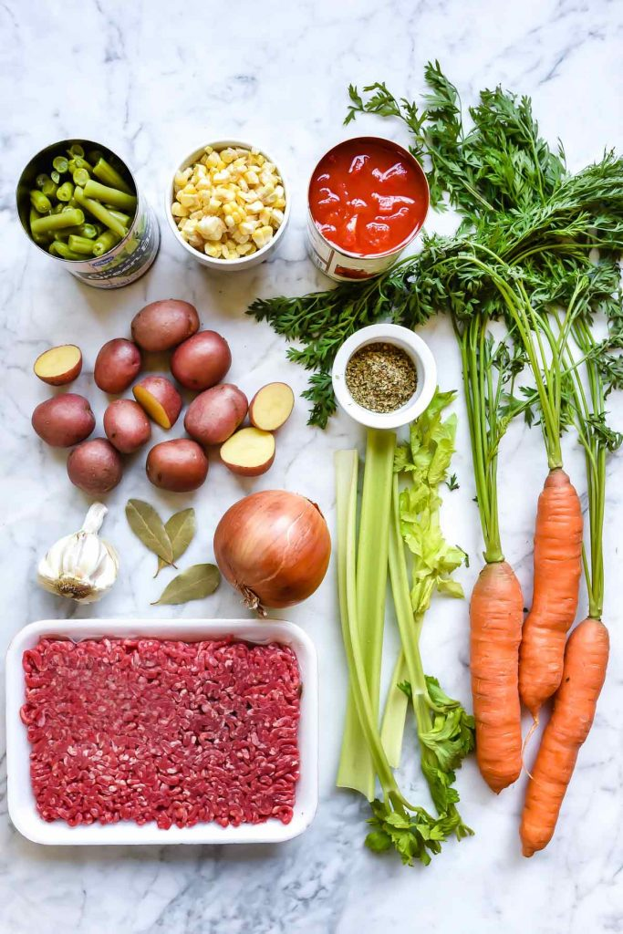 Ingredients for Easy Hamburger and Vegetable Soup Recipe | foodiecrush.com #hamburger #soup #recipe #easy #vegetable