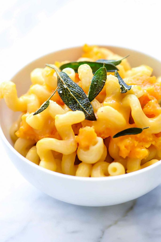 Instant Pot Butternut Squash Macaroni and Cheese with Fried Sage | foodiecrush.com #macaroniandcheese #macaroni #pasta #cheese #comfortfood #recipes #dinnertime