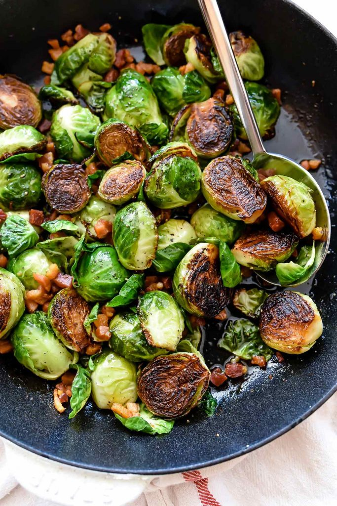 Roasted Brussels Sprouts with Pancetta | foodiecrush.com