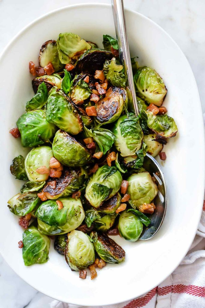 Pan Roasted Brussels Sprouts with Pancetta | foodiecrush.com