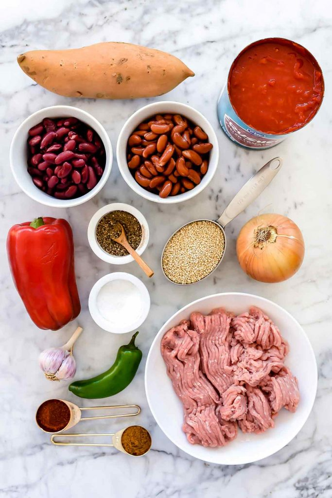 Slow Cooker Turkey and Sweet Potato Chili with Quinoa | foodiecrush.com #slowcooker #turkey #chili #recipes #turkeychili #sweetpotato #quinoa #instantpot #crockpot