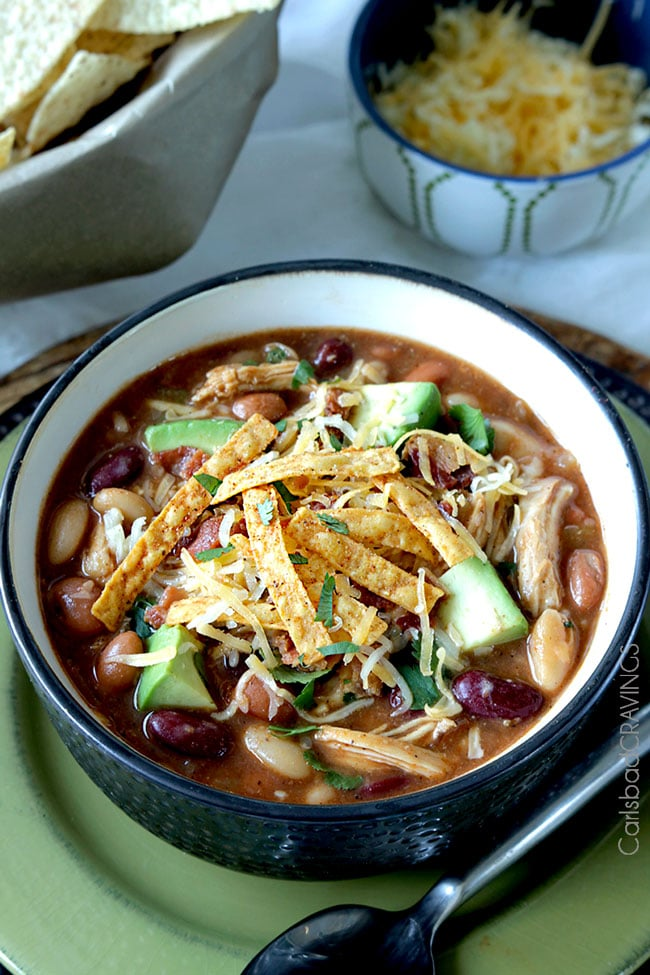 BBQ Chicken Chili (Slow Cooker or Stovetop) from carlsbadcravings.com on nourishedplanner.com