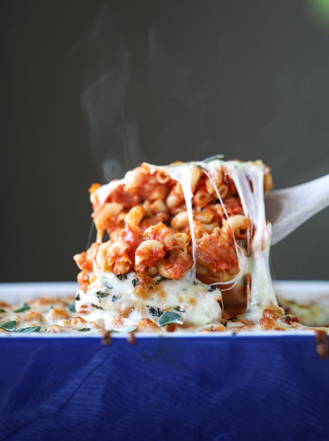 Cheesy Baked Macaroni with White Beans and Bacon from howsweeteats.com on foodiecrush.com