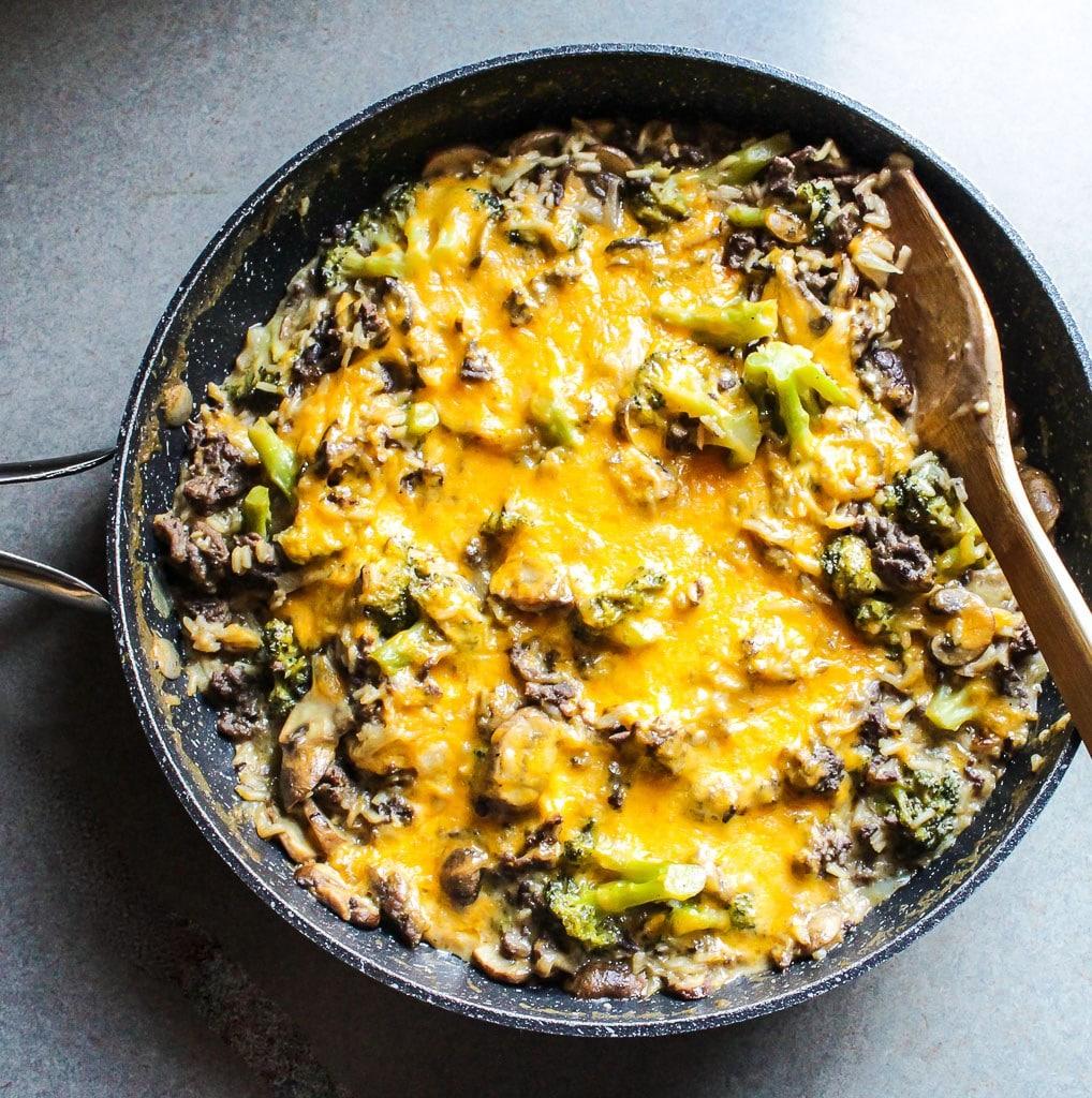 Cheesy Beef and Rice Broccoli Casserole from lisagcooks.com on foodiecrush.com