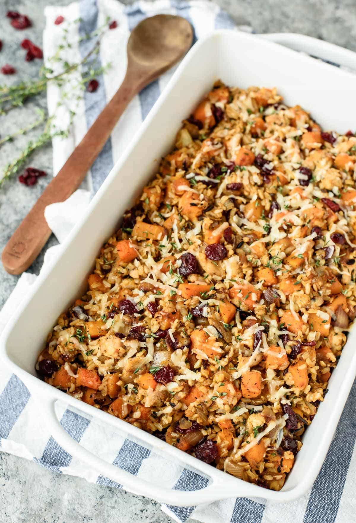 Chicken and Wild Rice Casserole with Butternut Squash and Cranberries from wellplated.com on foodiecrush.com