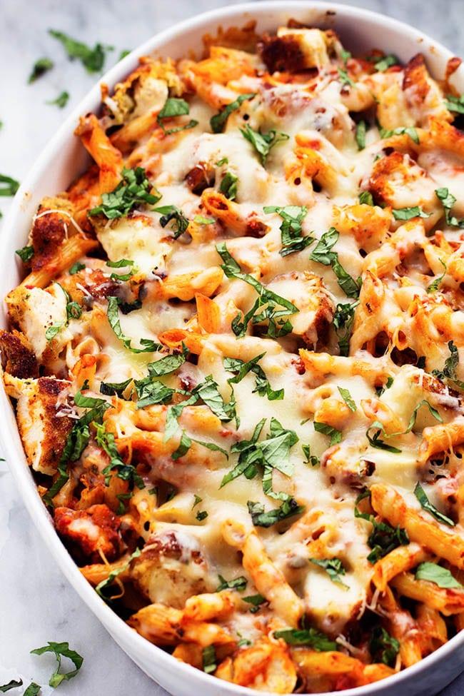 Chicken Parmesan Casserole from therecipecritic.com on foodiecrush.com