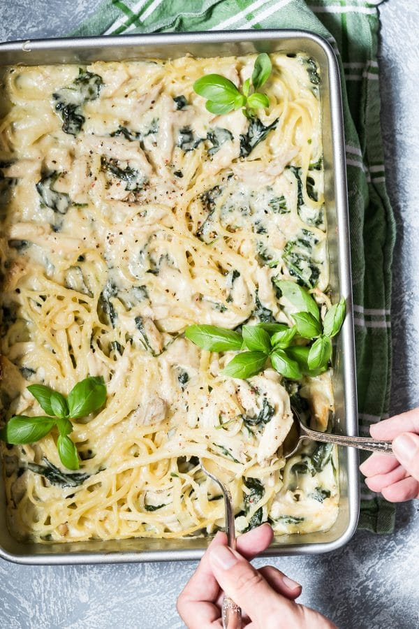 Chicken Tetrazzini with Spinach and Parmesan from foodnessgracious.com on foodiecrush.com