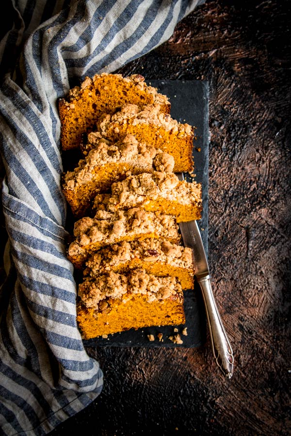 Cinnamon Pecan Streusel Pumpkin Bread from savorynothings.com on foodiecrush.com
