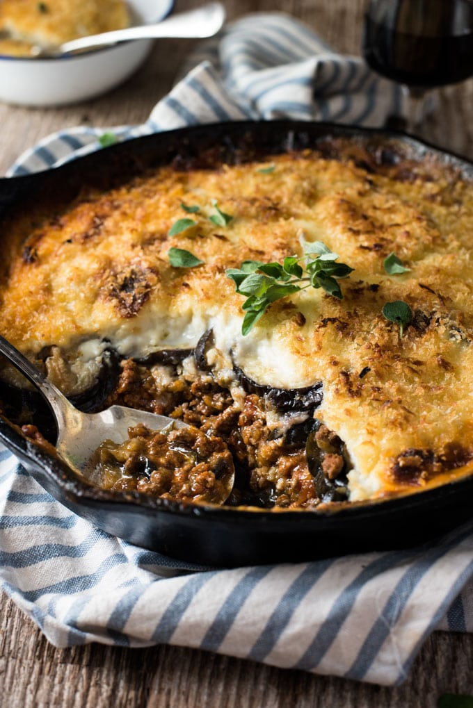 Greek Moussaka (Eggplant Beef Bake) from recipetineats.com on foodiecrush.com