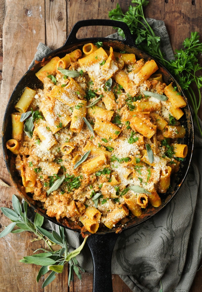 Pumpkin Baked Ziti with Sage Sausage from vodkaandbiscuits.com on foodiecrush.com