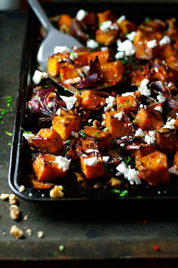 Roasted Pumpkin with Maple, Chili and Feta from recipetineats.com on foodiecrush.com