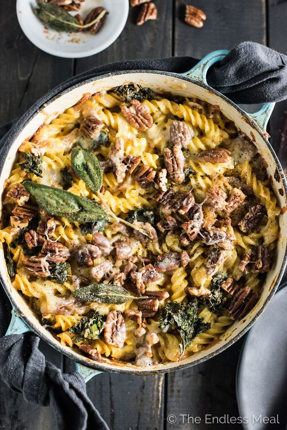 Sage Pumpkin Pasta Bake with Kale and Buttered Pecans from theendlessmeal.com on foodiecrush.com