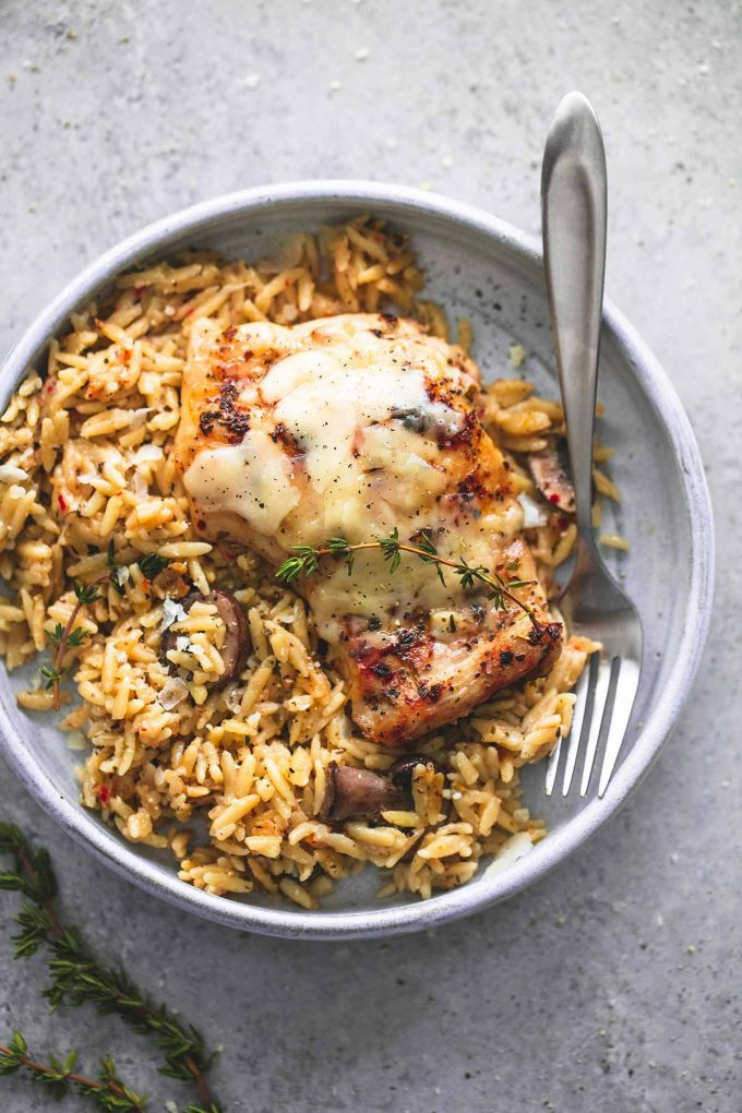 slow Cooker Parmesan Herb Chicken & Orzo from lecremedelacrumb.com on nourishedplanner.com