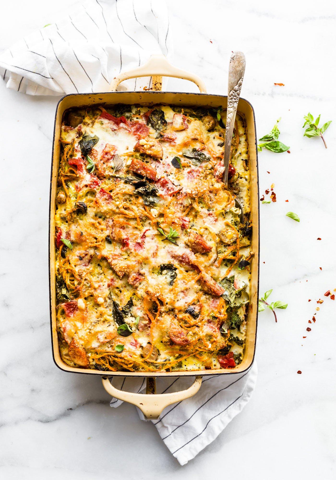 Spiralized Sweet Potato Spaghetti Casserole from cottercrunch.com on foodiecrush.com