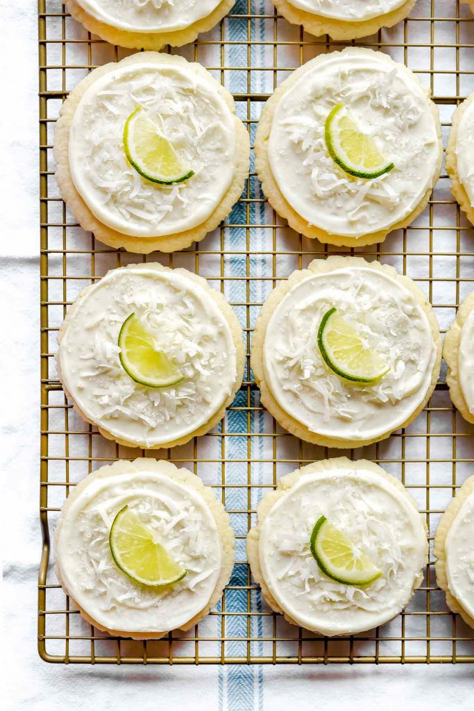 Coconut and Lime Frosted Soft Sugar Cookies | foodiecrush.com #cookies #easy #recipes #sugar #christmas