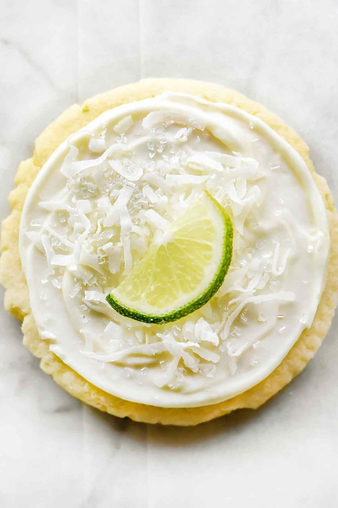 Coconut and Lime Frosted Soft Sugar Cookies   foodiecrush.com #cookies #easy #recipes #sugar #christmas