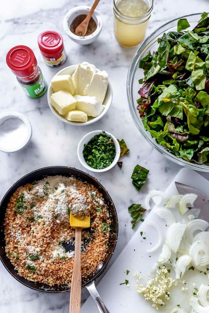 Easy Creamed Swiss Chard ingredients foodiecrush.com | #swisschard #easy #quick #sidedish #recipes