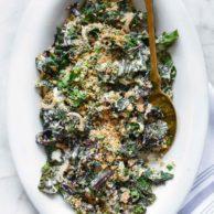Easy Creamed Swiss Chard foodiecrush.com | #swisschard #easy #quick #sidedish #recipes