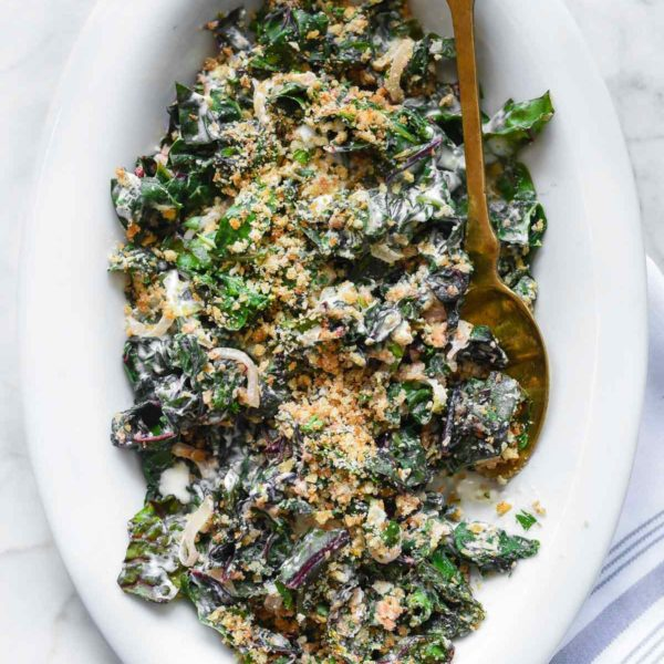 Easy Creamed Swiss Chard foodiecrush.com | #swisschard #easy #quick #sidedish #recipes