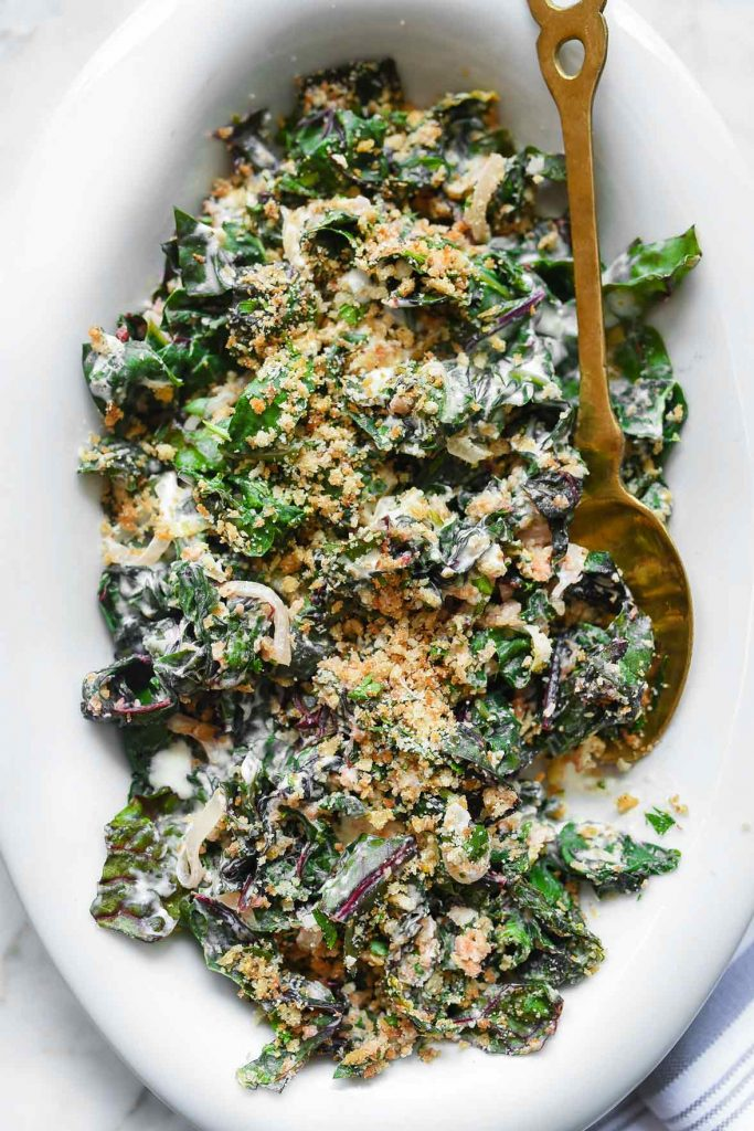 Easy Creamed Swiss Chard with Garlic Breadcrumbs