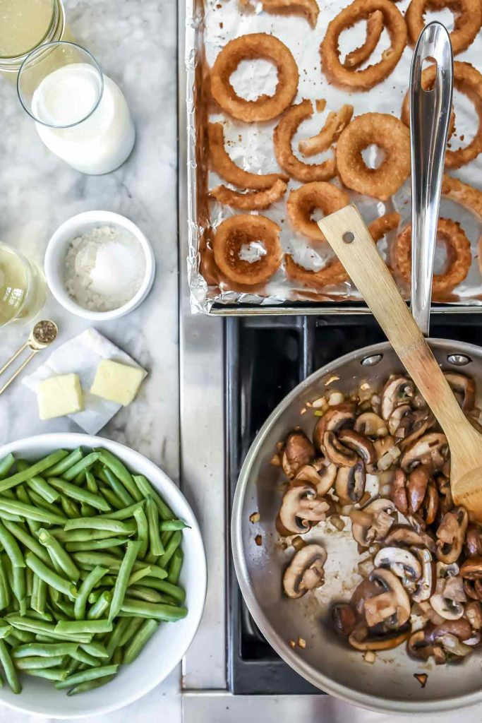 Green Bean Casserole with Onion Rings | foodiecrush.com #recipes #sidedish #beans #casserole