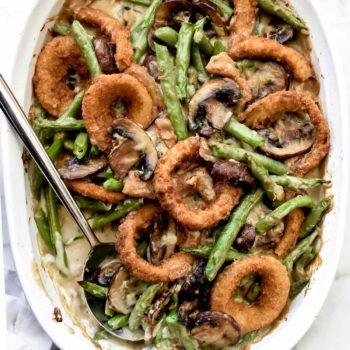 Green Bean Casserole with Onion Rings | foodiecrush.com #recipes #sidedish #beans #casserole